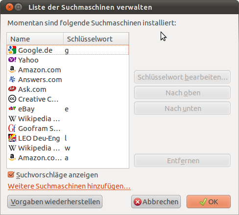 Liste der Suchmaschinen verwalten