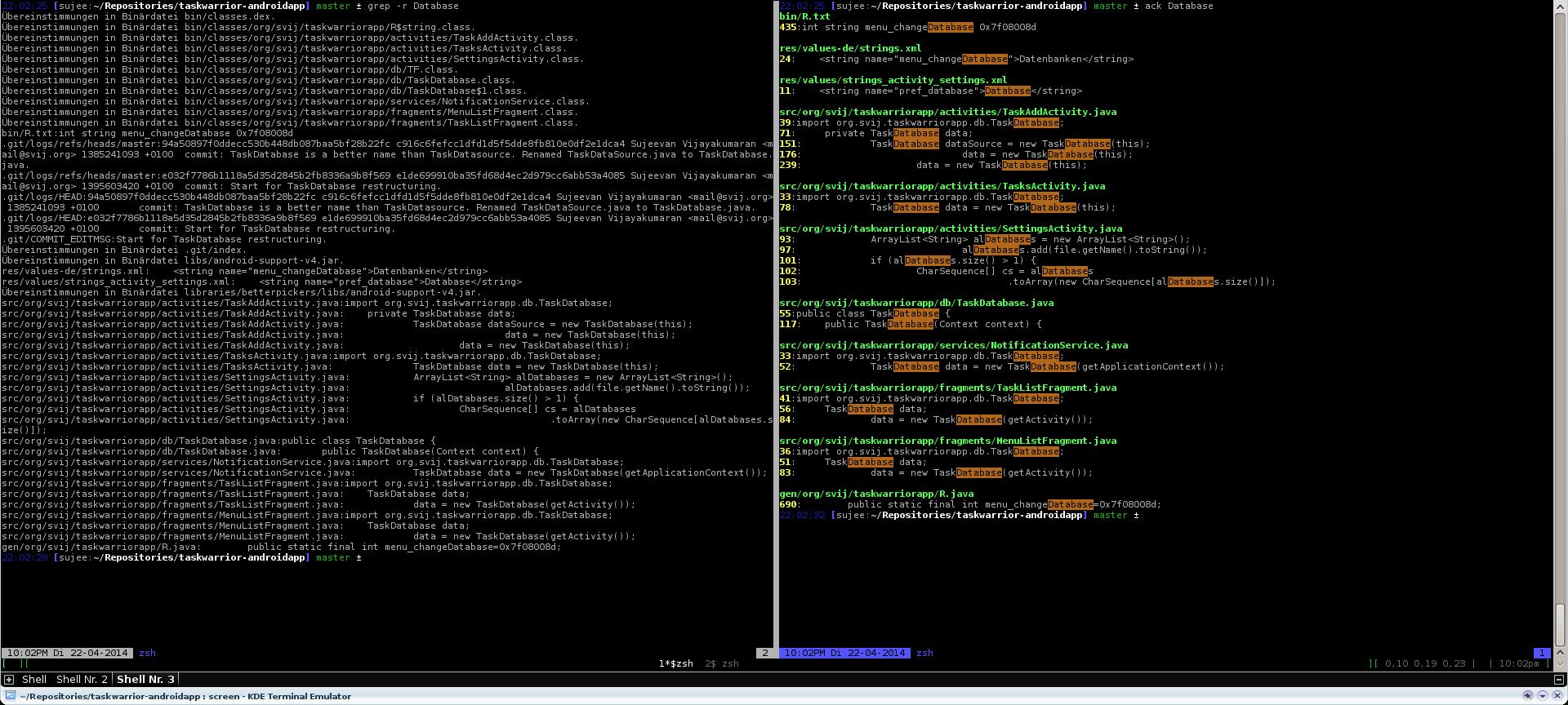 Suche nach Database mit grep (links) und ack (rechts)