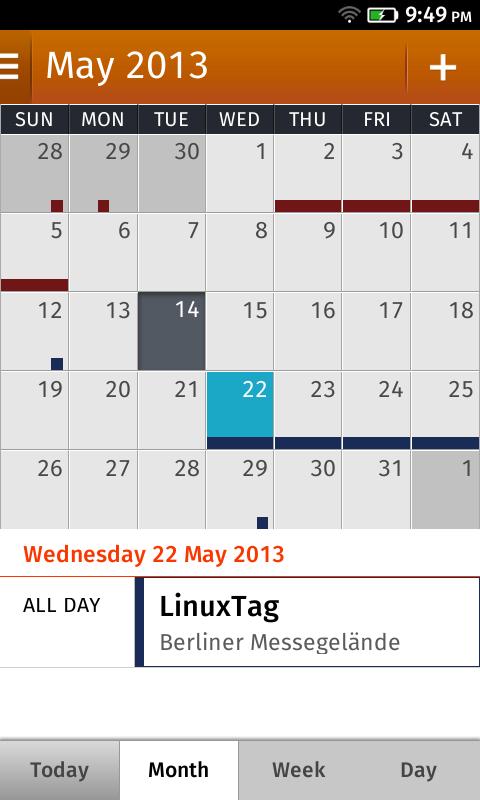 Eine Kalender-App ist vorinstalliert